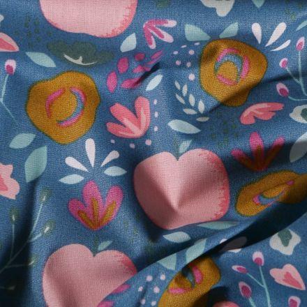 Tissu Coton enduit Fleurs et fruits vintage sur fond Bleu - Par 10 cm