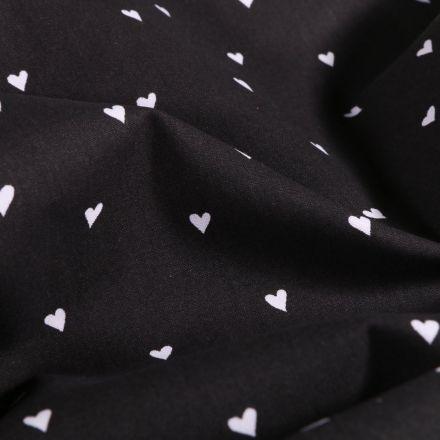Tissu Coton imprimé LittleBird Petits cœurs blancs sur fond Noir - Par 10 cm