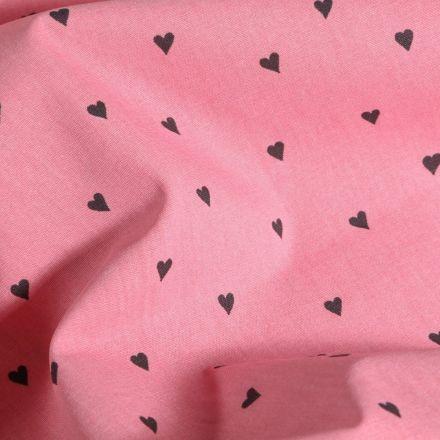 Tissu Coton imprimé LittleBird Petits cœurs noir sur fond Rose - Par 10 cm