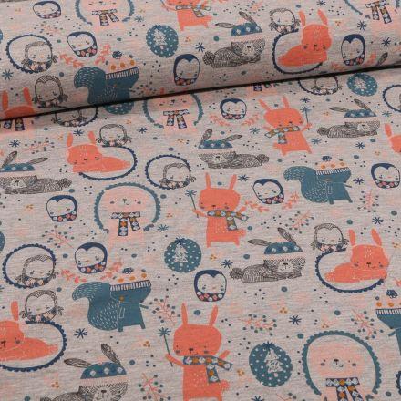 Tissu Jersey Coton Adorable animaux de la forêt sur fond Gris chiné - Par 10 cm