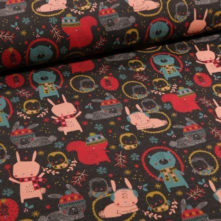 Tissu Jersey Coton Adorable animaux de la forêt sur fond Gris anthracite chiné - Par 10 cm