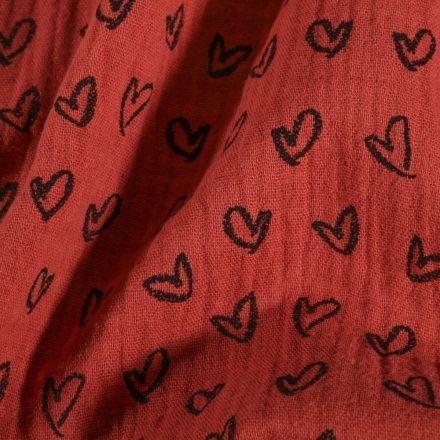 Tissu Double Gaze Cœurs dessinés sur fond Rouille - Par 10 cm