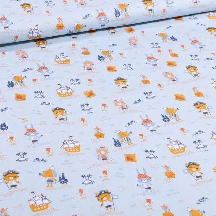 Tissu Coton imprimé Bio Animaux pirates sur fond Bleu - Par 10 cm