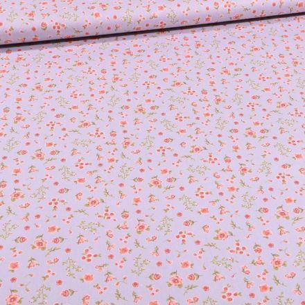 Tissu Coton imprimé Bio Lapinou sur fond Gris - Par 10 cm