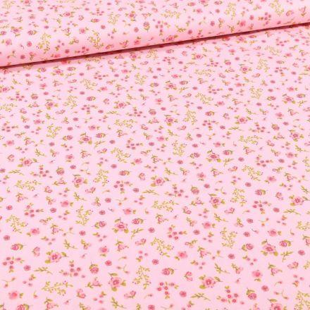 Tissu Coton imprimé Bio Lapinou sur fond Rose - Par 10 cm