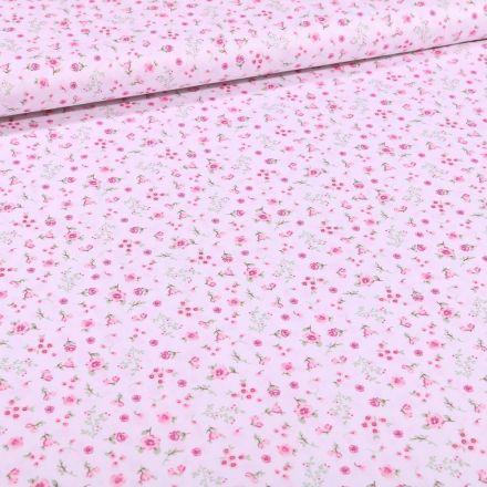 Tissu Coton imprimé Bio Lapinou sur fond Blanc - Par 10 cm