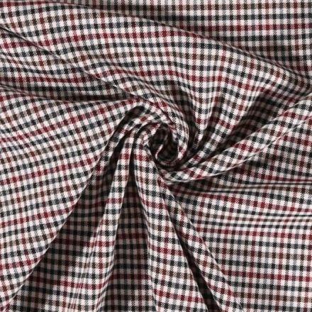Tissu gabardine légère Petits carreaux Bordeaux et noirs sur fond Blanc cassé - Par 10 cm