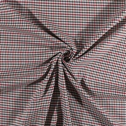 Tissu gabardine légère Petits carreaux bordeaux et marron sur fond Blanc - Par 10 cm