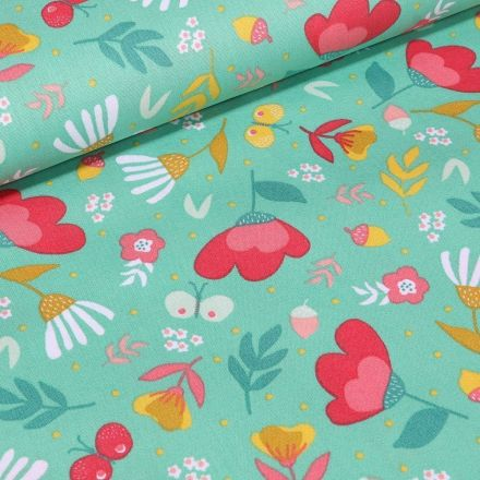 Tissu Coton imprimé LittleBird Lola sur fond Vert - Par 10 cm