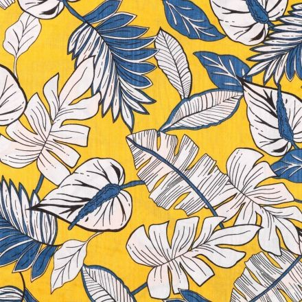 Tissu Voile de Coton Viscose Feuilles tropicales Blanches et bleues sur fond Jaune - Par 10 cm