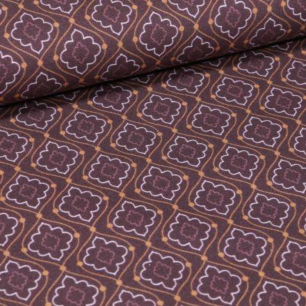 Tissu Coton imprimé Bio Losanges fleuris sur fond Bordeaux - Par 10 cm