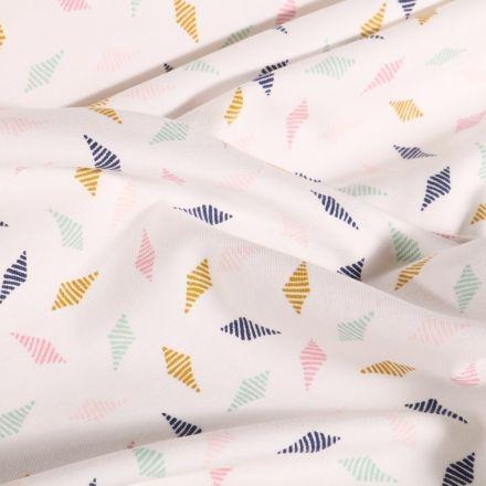 Tissu Jersey Coton Arty Losanges striés sur fond Blanc - Par 10 cm