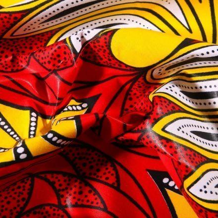 Tissu Wax africain N°605 Cercles abstrait sur fond Rouge - Par 10 cm