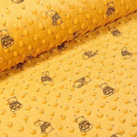 Tissu Minky Ultra doux Pois  Ourson sur fond Jaune moutarde - Par 10 cm