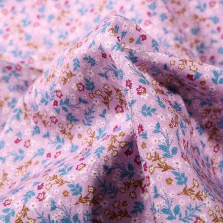 Tissu Coton imprimé Florentine sur fond Lilas - Par 10 cm