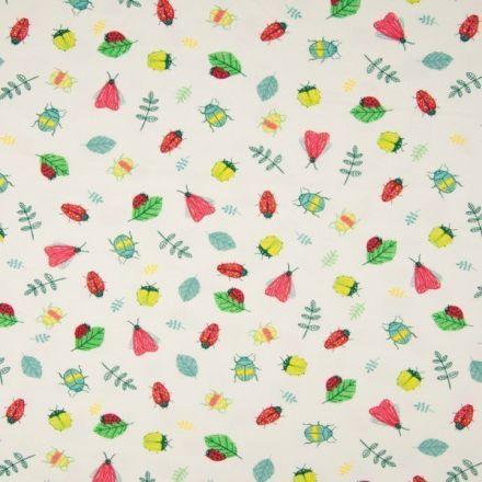 Tissu Jersey Coton Animaux Multicolores sur fond Ecru - Par 10 cm