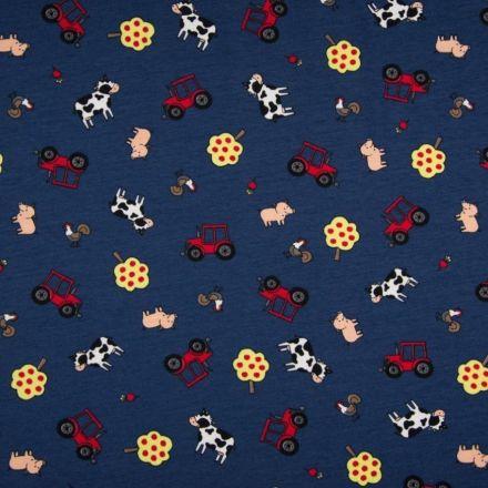 Tissu Jersey Coton Animaux sur fond Bleu Marine - Par 10 cm
