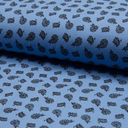 Tissu Jersey Piqué de coton spécial Polo Kashmir Noir sur fond Bleu bleuet - Par 10 cm