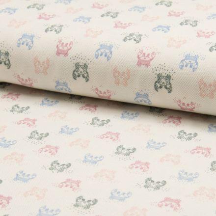 Tissu Jersey Piqué de coton spécial Polo Crabes Multicouleurs sur fond Ecru - Par 10 cm