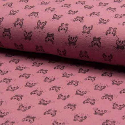 Tissu Jersey Piqué de coton spécial Polo Crabes Noir sur fond Vieux rose - Par 10 cm