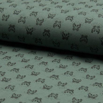 Tissu Jersey Piqué de coton spécial Polo Crabes Noir sur fond Vert kaki - Par 10 cm