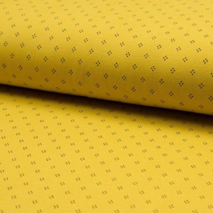 Tissu Jersey Piqué de coton spécial Polo Losange de pois Noir sur fond Jaune - Par 10 cm