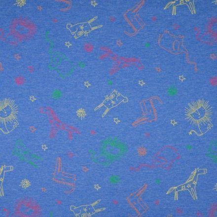 Tissu Jersey Coton Animaux sur fond Bleu marine chiné - Par 10 cm
