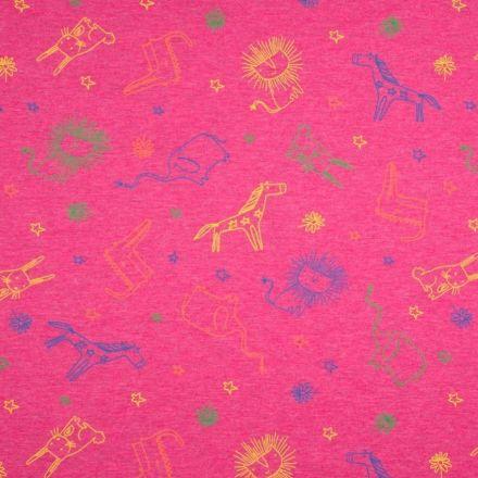 Tissu Jersey Coton Animaux sur fond Rose fuchsia chiné - Par 10 cm