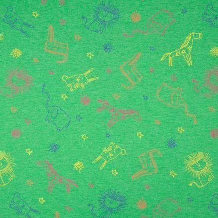 Tissu Jersey Coton Animaux sur fond Vert chiné - Par 10 cm