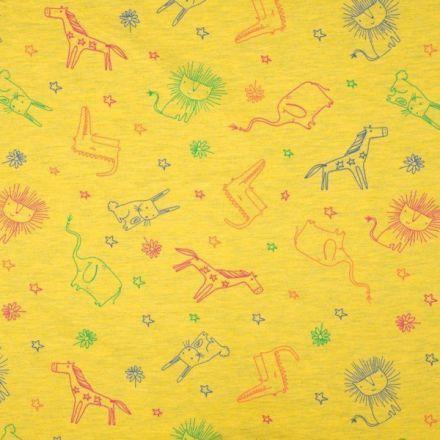 Tissu Jersey Coton Animaux sur fond Jaune chiné - Par 10 cm