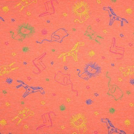 Tissu Jersey Coton Animaux sur fond Orange chiné - Par 10 cm