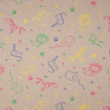 Tissu Jersey Coton Animaux sur fond Beige chiné - Par 10 cm