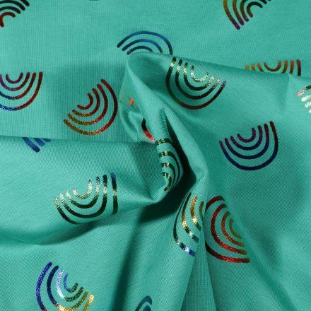 Tissu Jersey Coton Arc en ciel Métallisé multicolore sur fond Vert - Par 10 cm