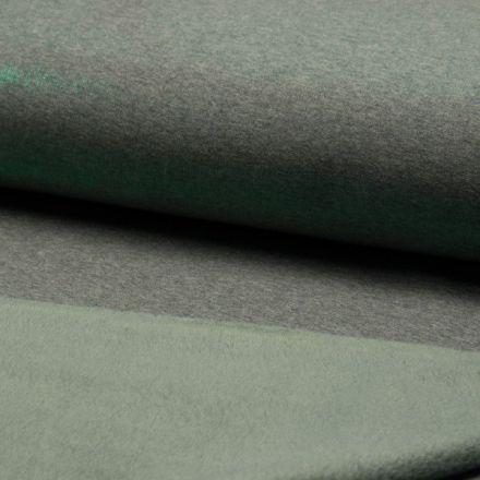 Tissu Sweat Métallisé envers Minky Kaki sur fond Vert d'eau - Par 10 cm