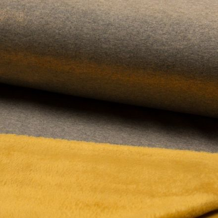 Tissu Sweat Métallisé envers Minky moutarde sur fond Doré - Par 10 cm