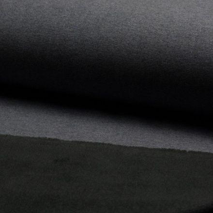 Tissu Sweat Métallisé envers Minky Noir sur fond Gris anthracite - Par 10 cm