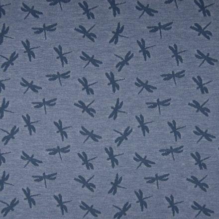 Tissu Jersey Jacquard  Libellules bleu denim sur fond Bleu chiné - Par 10 cm