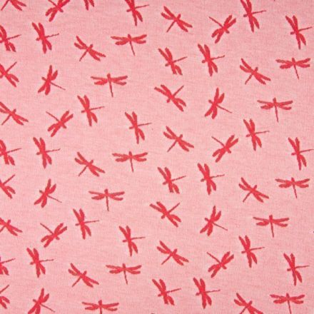 Tissu Jersey Jacquard  Libellules rouge sur fond Rouge chiné - Par 10 cm