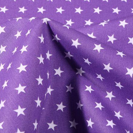 Tissu Coton imprimé Etoiles 1 cm sur fond Violet - Par 10 cm
