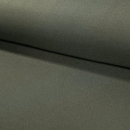 Tissu Crêpe Scuba Uni Vert Kaki - Par 10 cm