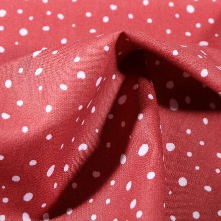 Tissu Coton imprimé Bio Gouttelettes blanches sur fond Rouge - Par 10 cm