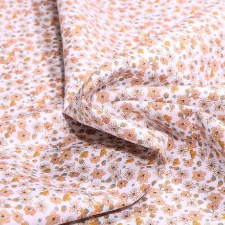 Tissu Coton imprimé Bio Joy sur fond Blanc - Par 10 cm
