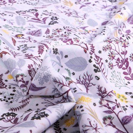 Tissu Coton imprimé Bio Hannah Parme sur fond Blanc - Par 10 cm