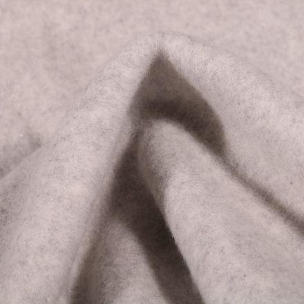 Tissu Polaire Coton Bio uni Gris chiné - Par 10 cm