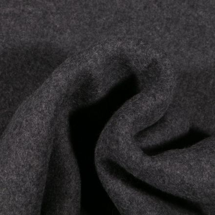 Tissu Polaire Coton Bio uni Gris anthracite - Par 10 cm