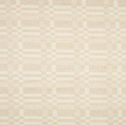 Tissu Lin coton  jacquard Graphique sur fond Beige sable - Par 10 cm