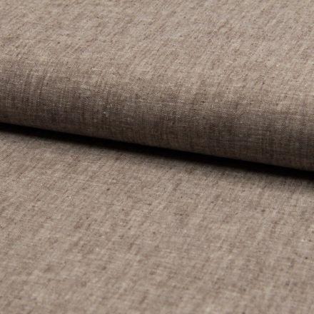 Tissu Lin coton  chiné Marron chocolat - Par 10 cm