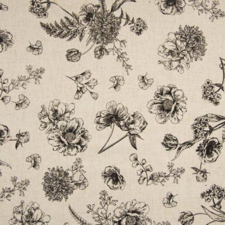 Tissu Lin Viscose lavé Fleurs diverses sur fond Beige chiné - Par 10 cm
