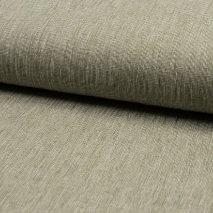 Tissu Lin Coton tissage étamine Vert kaki clair - Par 10 cm