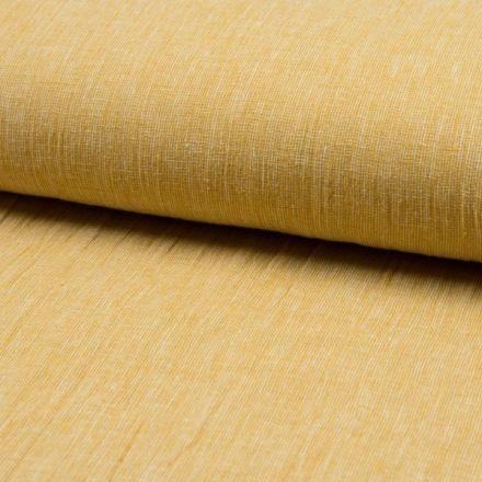 Tissu Lin Coton tissage étamine Ocre - Par 10 cm